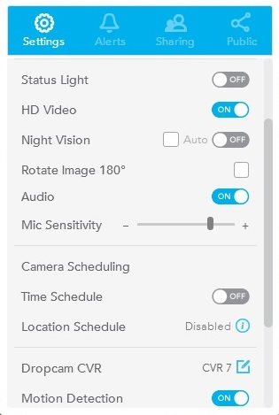 Dropcam Pro - Camera Settings