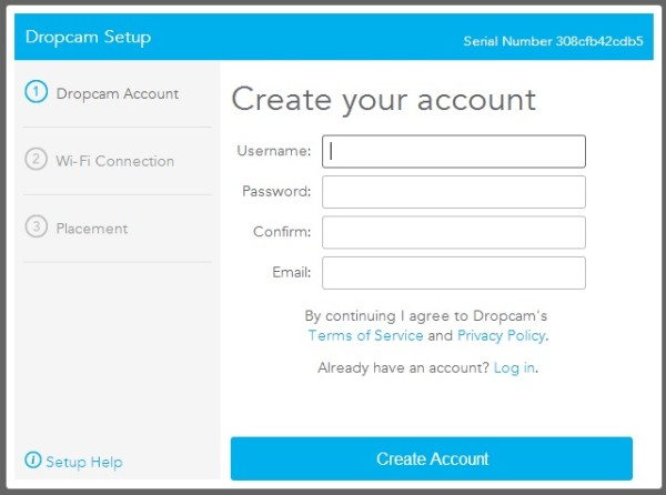 Dropcam Pro - Create Account
